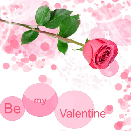 Be my valentine card with one red rose Stock Photo - 17358430