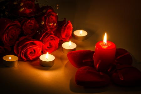 Romantic background for valentines day with candles and red hearts Stock Photo - 17447155