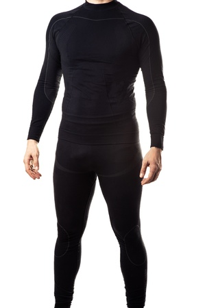 sexy underwear: Male black thermal underwear for active sport