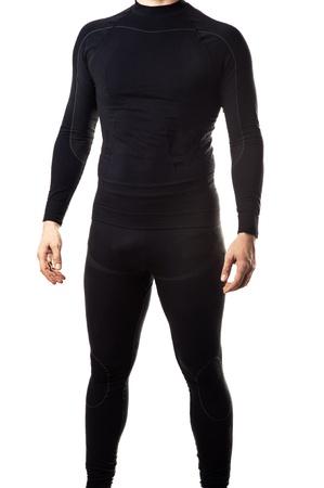 man in underwear: Male black thermal underwear for active sport