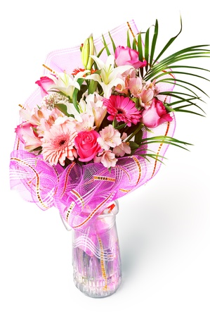 gentle pink and white spring flowers  Bouquet with red rose, alstroemeria, lily and gerberas isolated on white background photo