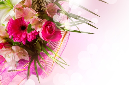 gentle pink and white spring flowers. Boquet with red rose on blur background photo