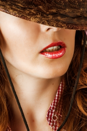 Woman with fashion make up - sexy red lips photo