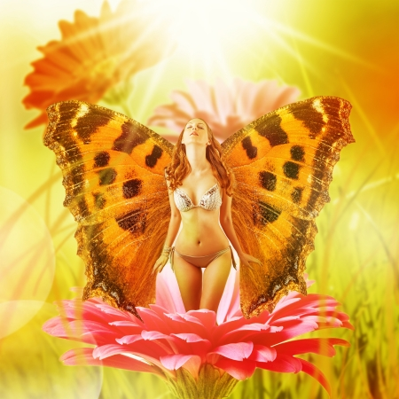 Beautiful fairy with wings on a flower in water. Sexy blonde nude butterfly woman