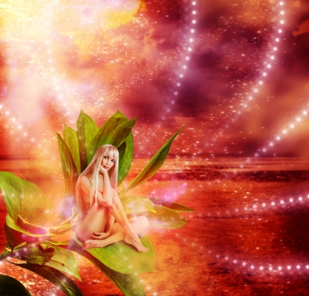 Beautiful sexy woman pixie sitting on a grean leaves in fantasy magic world Stock Photo - 19025506