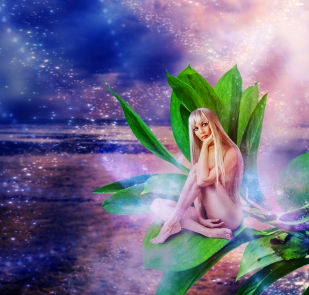 Beautiful sexy woman pixie sitting on a grean leaves in fantasy magic world Stock Photo - 19025504