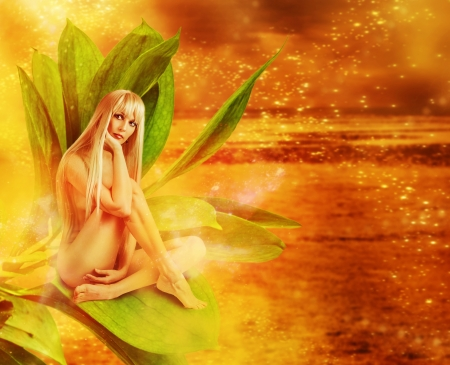 Beautiful sexy woman pixie on green leaves in magic fantasy world on golden background Stock Photo - 19287402