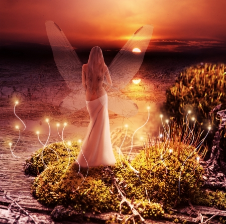 magical fairy: Fairy with transparent wings standing on green island in  lake and watching the sunset Stock Photo