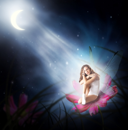 Fantasy. Magical young woman as  fairy with wings sitting on flower in moon light