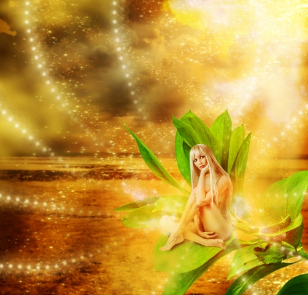 Beautiful sexy woman pixie sitting on a grean leaves in fantasy magic world Stock Photo - 19559193