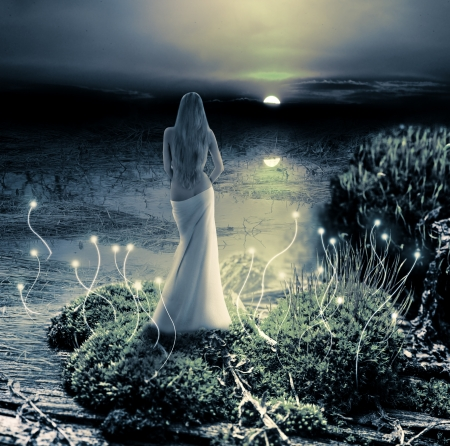 Fairy or mermaid standing on green island in  lake and watching on moon