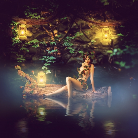 Fantasy fairytale beautiful woman - wood nymph or dryad sitting about water, sail on a log