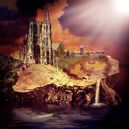 Sprookje. fantasie kasteel en het dorp op de stomp in het water bij zonsondergang
