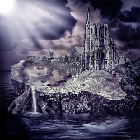 waterfall in the city: Fairy tale  fantasy castle and village on the stump in the water at sunset