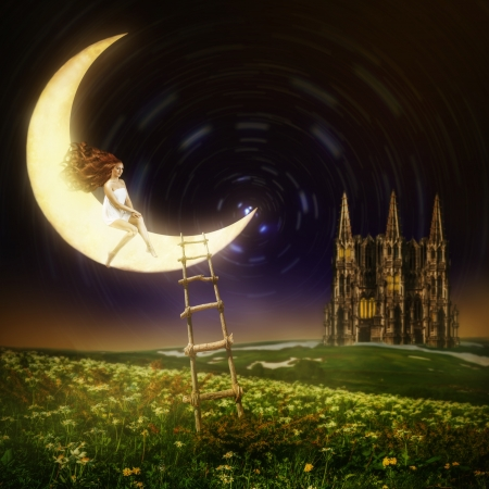 Wonderland. Beautiful female princess sitting on moon in night sky with stars photo