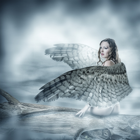 Sexy beautiful woman with birds wings with feathers sitting on a tree photo