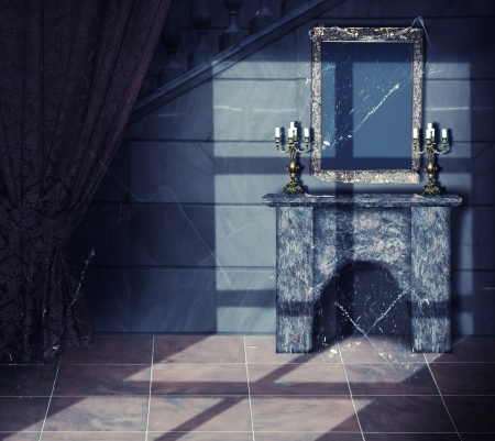 Halloween Concept.Interior - gold frame, web, candlestick and fireplace in old Abandoned castle Standard-Bild