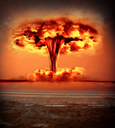 Nuclear explosion in an outdoor setting. environmental protection concept and the dangers of nuclear energy.  photo