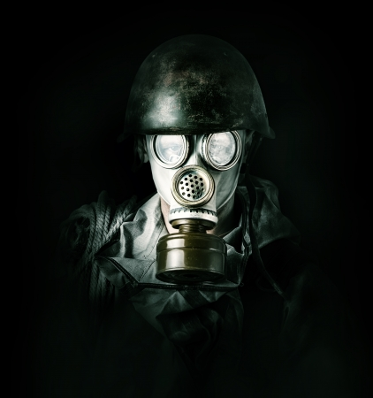 Concept. environmental protection. Man in gas mask