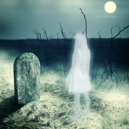 afterlife: Young white transparent woman ghost look on her grave gravestone on old cemetery  Midnight with full moon