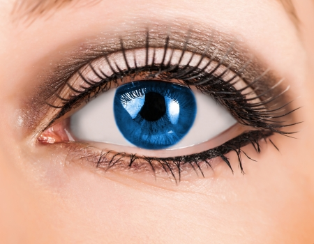 Beautiful woman blue eye with false  extremely long lashes  photo