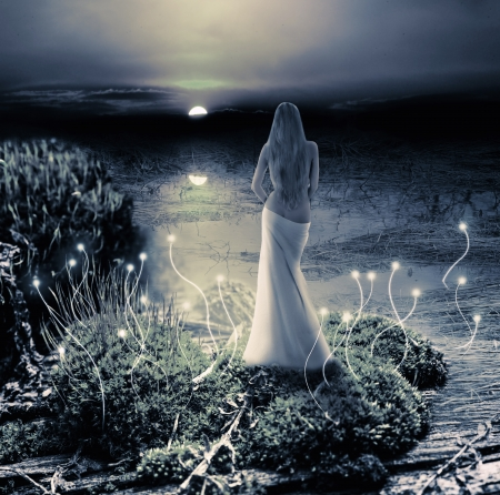 Fantasy magic world. Fairy or mermaid standing on green island in  lake and watching on moon