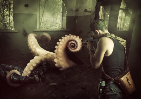 tentacles: Military man shoots machine gun in the tentacles of octopus, getting out of the basement at home