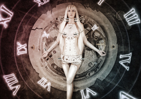 Fantasy futuristic woman exists wires connected to clockwork. time. moving from past to future