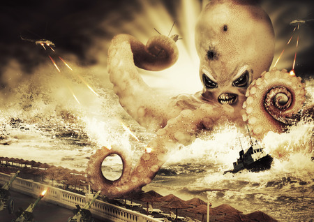 sea monster: War with a large evil sea monster - octopus alien