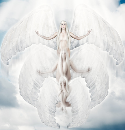 Flying white angel in move with big wings to sun light