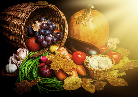 harvest background: Beautiful autumn harvest of vegetables and leaves on black background with sun light
