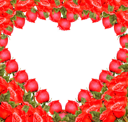 Heart - border from red roses on white background photo