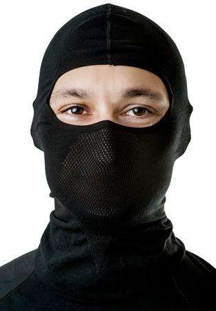 ski mask: Young man in black ski balaclava