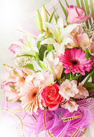 pink lily: Big bunch of beautiful bright flowers, multicolored floral background for valentines day Stock Photo