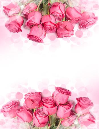 美しい大きなバラの花束赤 - 花の境界線を持つカードのアート デザイン 写真素材