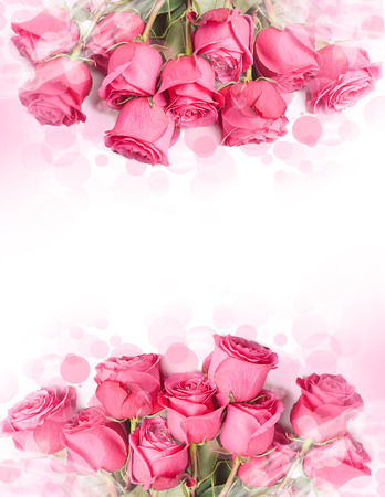 Art Design met mooie grote boeket van rode rozen - kaart met bloemenrand