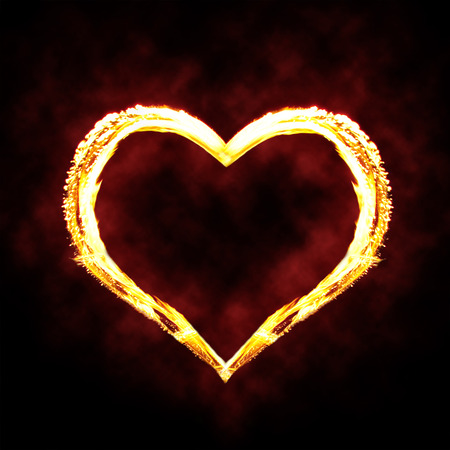 fire heart: Valentines day or hot love concept - fire heart