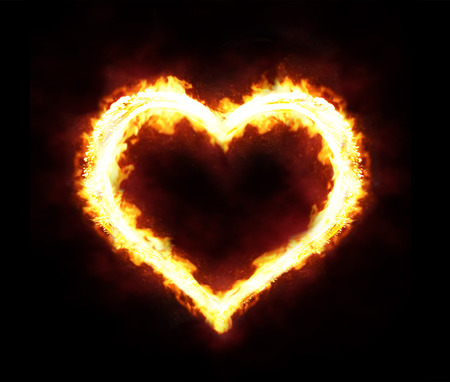 Valentines day or hot love concept - fire heart