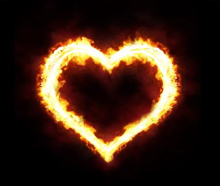 Valentines day or hot love concept - fire heart Reklamní fotografie - 36103845