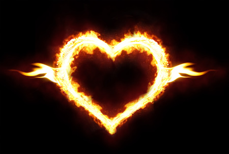 heart heat: Valentines day or hot love concept - fire heart