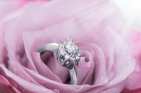 柔らかいピンクのバラの花びらの中のダイヤモンド ホワイトゴールド リング 写真素材