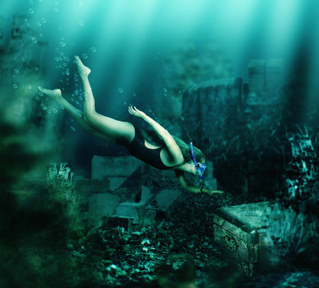 divers: Woman with mask and snorkel diving swimming underwater among the ancient ruins to chest