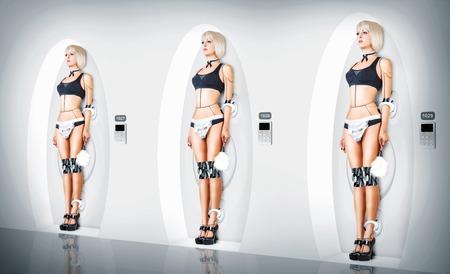 3 つの同一の女性サイボーグ スーツ セクシーなメイド。ロボット使用人の充電
