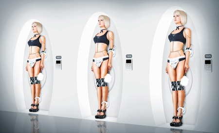 Three identical Female cyborg suit sexy maid. Robotic servants charging Stock Photo