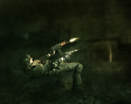 Military man warrior evades from a shot and shoots from two hands from the gun and the machine gun