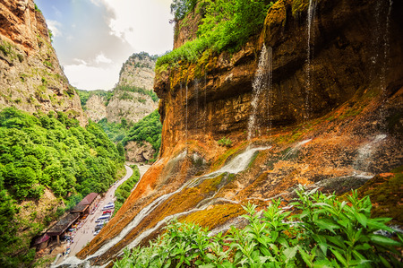tier: Beautiful landscape of top tier of Chegem waterfalls in canyon. Chegem district of Kabardino-Balkaria, Russian Federation.