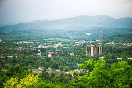 panoramic top view of the city Nalchik from the mountain kizilovka