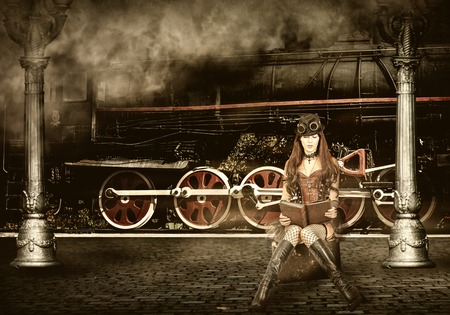 Steampunk and retro-futurism style. Woman traveler sitting on suitcase on platform of Railway Station. Near old train and clouds of smoke