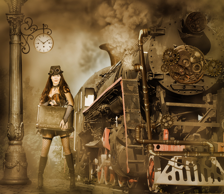 railways: Steampunk and retro-futurism style. Woman traveler holding suitcase on platform of Railway Station. Near old train and clouds of smoke
