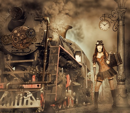 Steampunk and retro-futurism style. Woman traveler holding suitcase on platform of Railway Station. Near old train and clouds of smoke